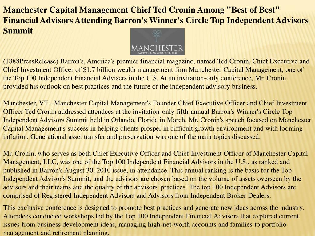 "Manchester Capital Management Chief Ted Cronin Among ""Best of Best"" Financial Advisors Attending Barron's Winner's Circle Top Independent Advisors Summit"