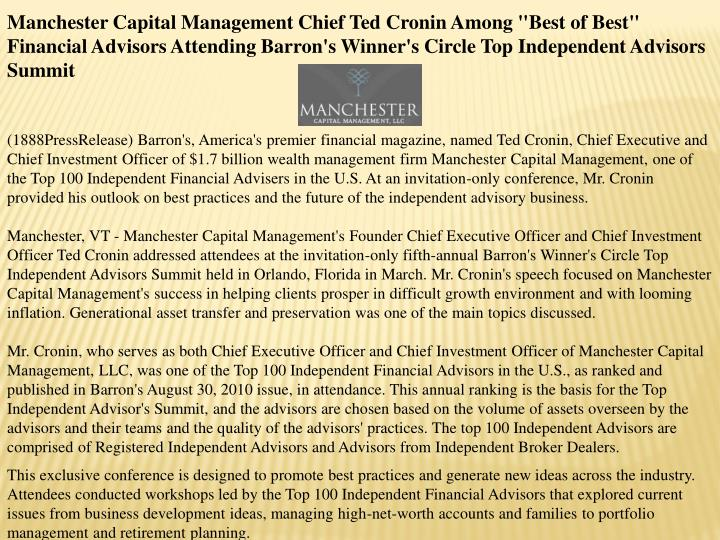 "Manchester Capital Management Chief Ted Cronin Among ""Best of Best"" Financial Advisors Attending Bar..."