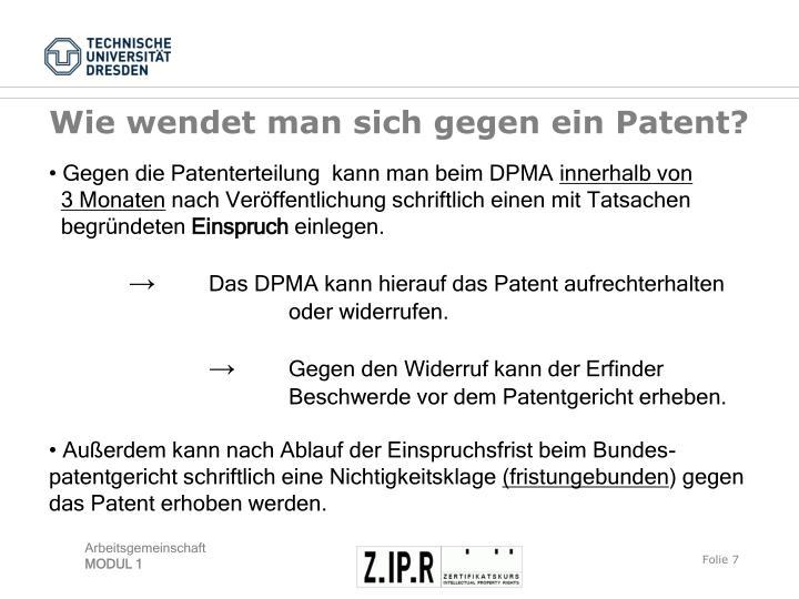 Wie wendet man sich gegen ein Patent?