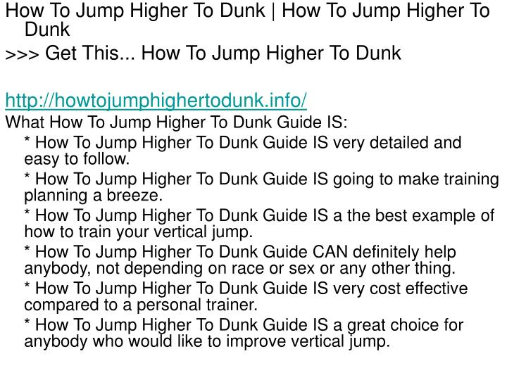 How To Jump Higher To Dunk | How To Jump Higher To Dunk