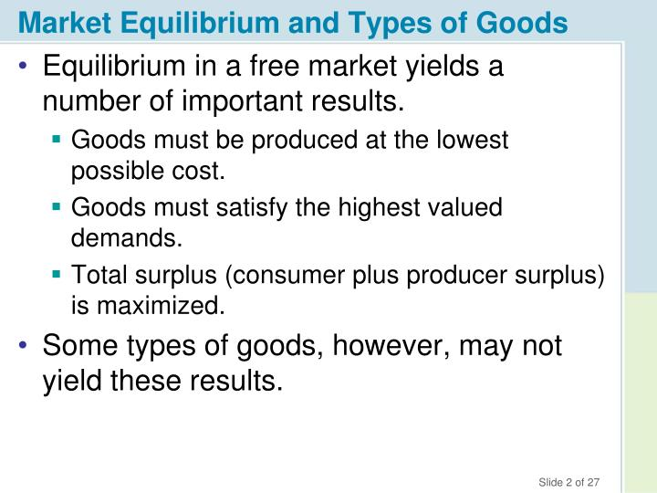 Market equilibrium and types of goods