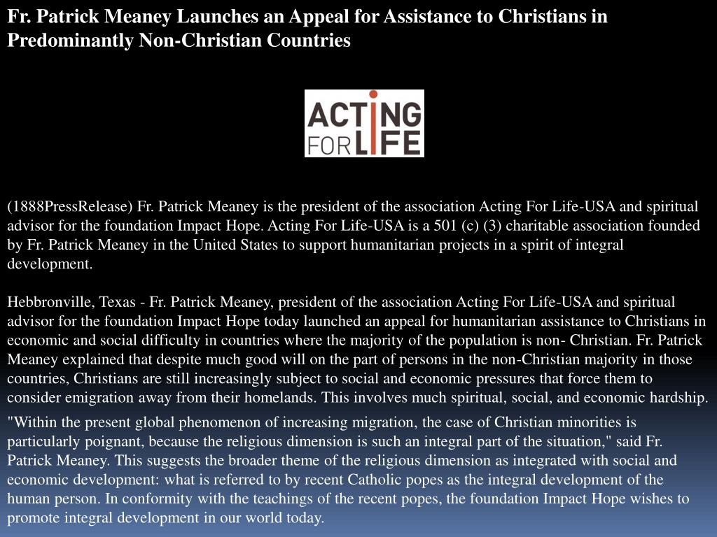Fr. Patrick Meaney Launches an Appeal for Assistance to Christians in Predominantly Non-Christian Countries