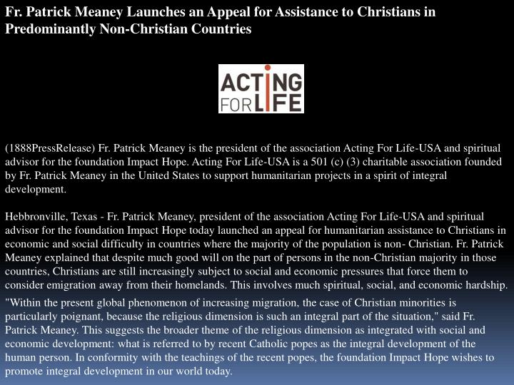 Fr. Patrick Meaney Launches an Appeal for Assistance to Christians in Predominantly Non-Christian Co...