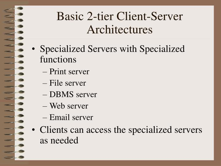 Basic 2-tier Client-Server Architectures