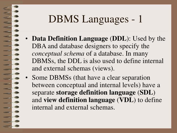 DBMS Languages - 1