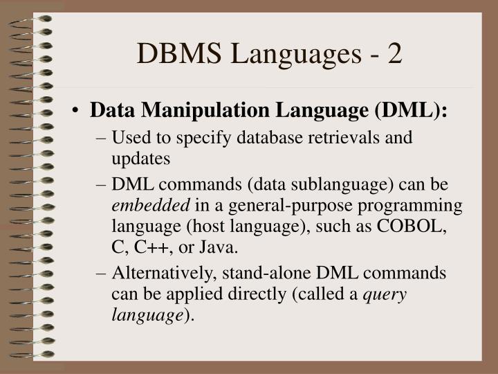 DBMS Languages - 2