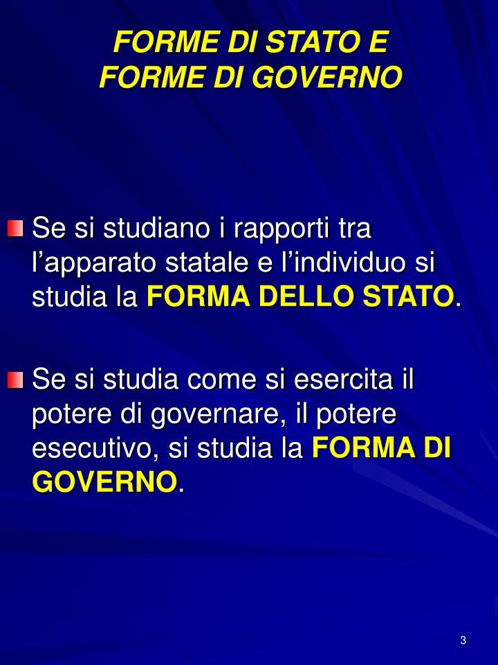 FORME DI STATO E