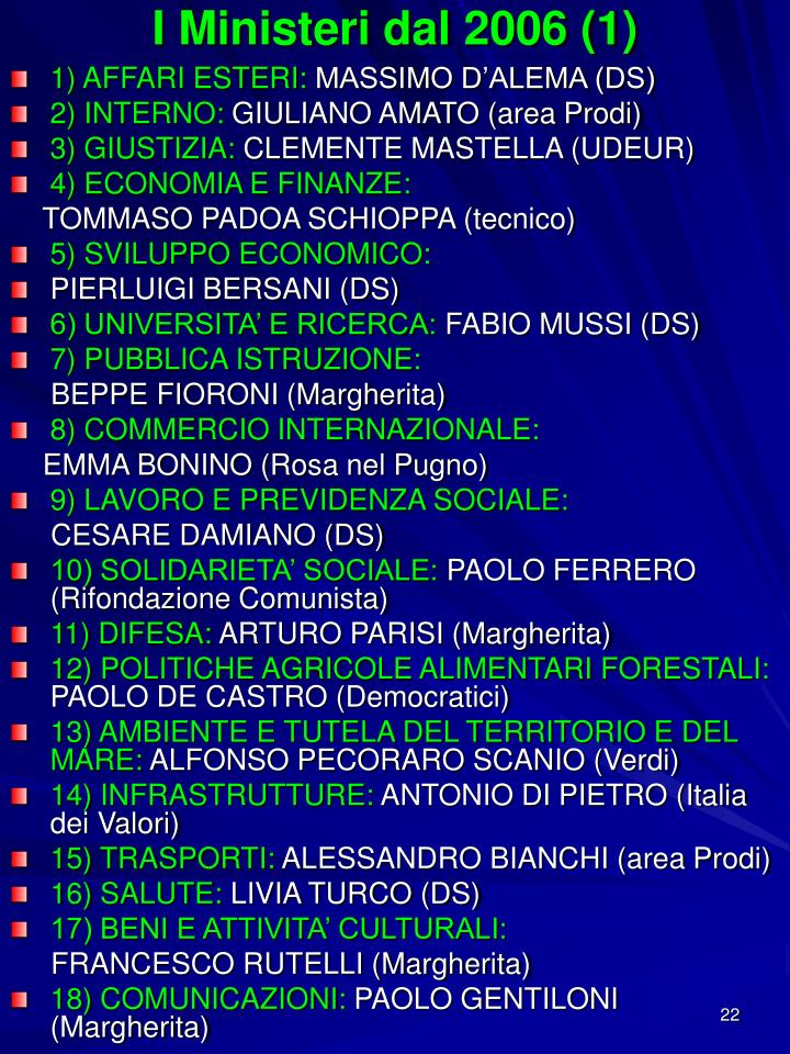 I Ministeri dal 2006 (1)