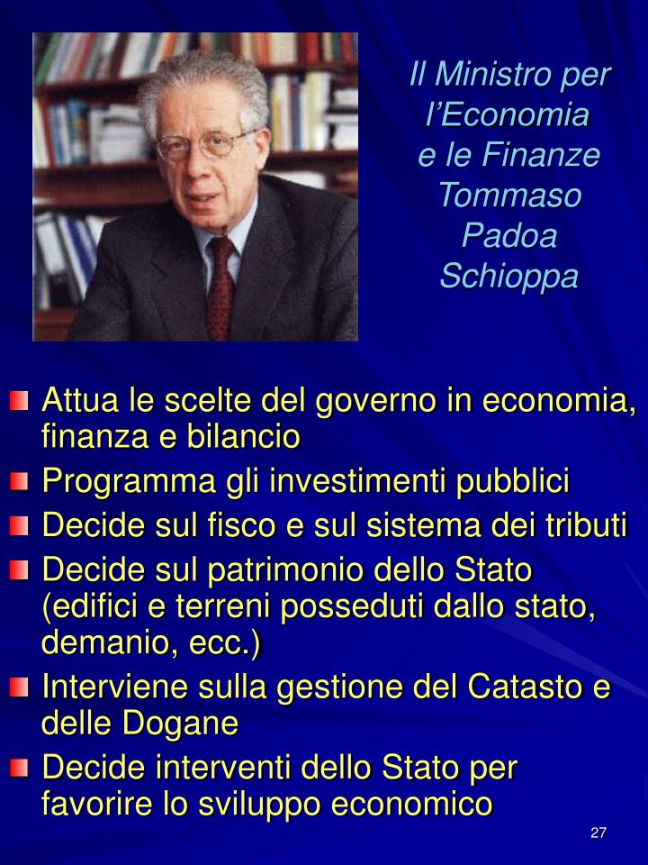 Il Ministro per l'Economia