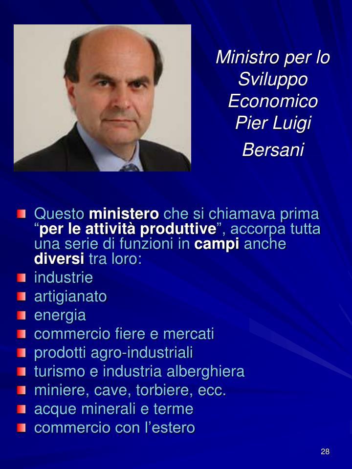 Ministro per lo Sviluppo Economico