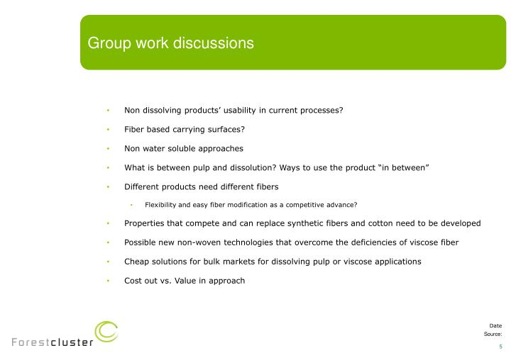 Group work discussions