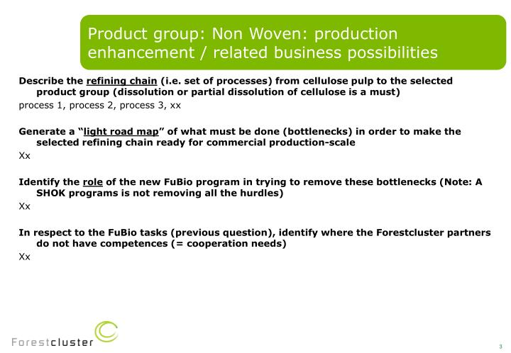 Product group: Non Woven: production enhancement / related business possibilities