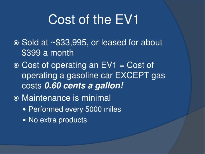 Cost of the EV1