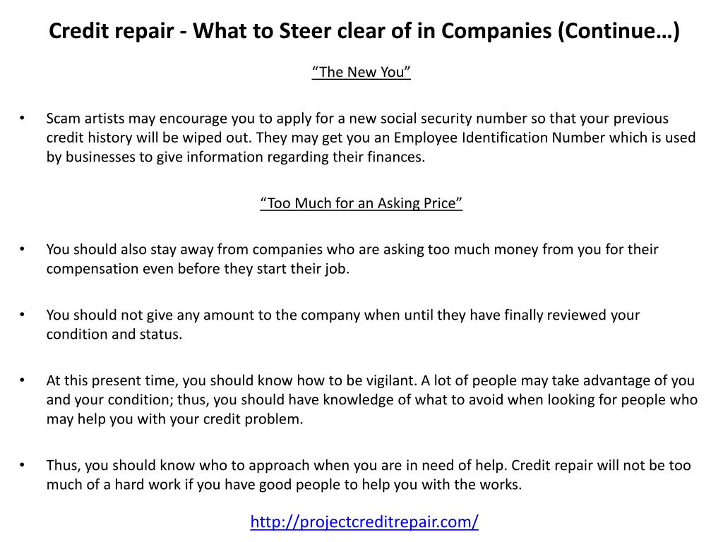 Credit repair - What to Steer clear of in Companies