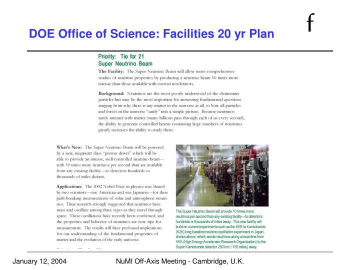 DOE Office of Science: Facilities 20 yr Plan