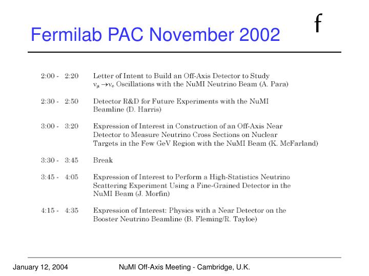 Fermilab PAC November 2002