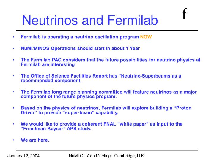 Neutrinos and Fermilab