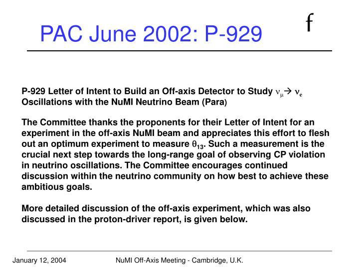 PAC June 2002: P-929