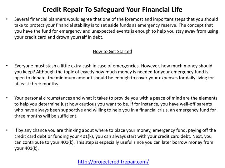 Credit Repair To Safeguard Your Financial Life