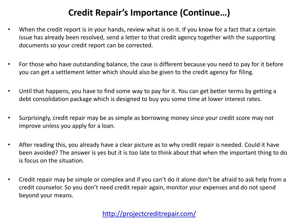 Credit Repair's Importance