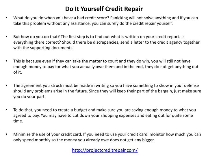 Do It Yourself Credit Repair