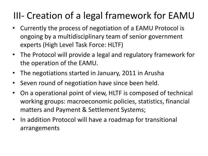 III- Creation of a legal framework for EAMU