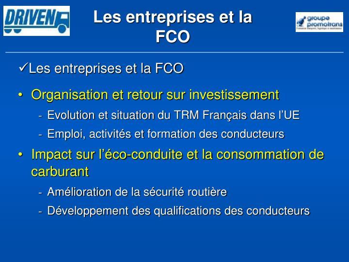 Les entreprises et la FCO