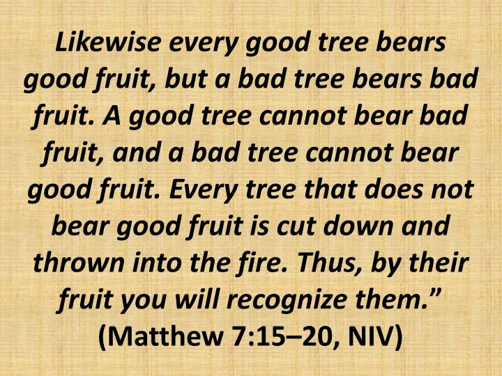 Likewise every good tree bears