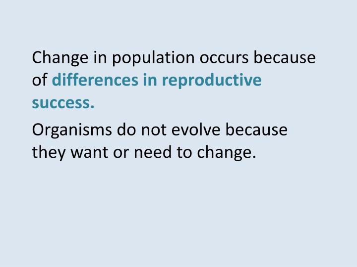 Change in population occurs because of