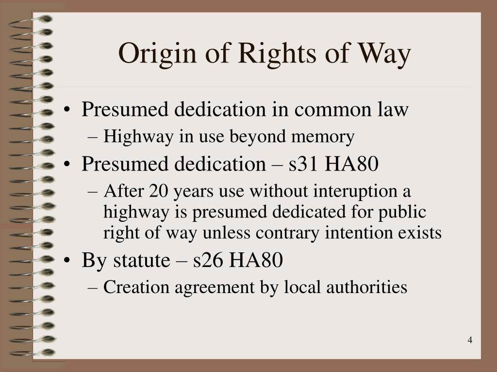 Origin of Rights of Way