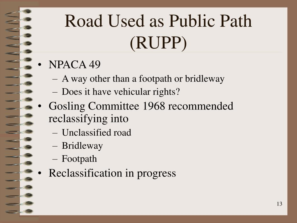 Road Used as Public Path (RUPP)
