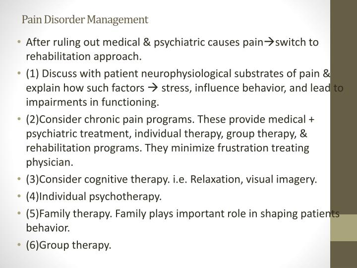 Pain Disorder Management
