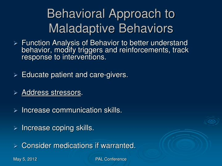 Behavioral Approach to Maladaptive Behaviors