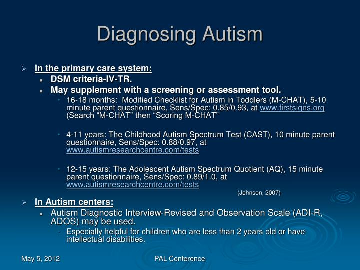 Diagnosing Autism