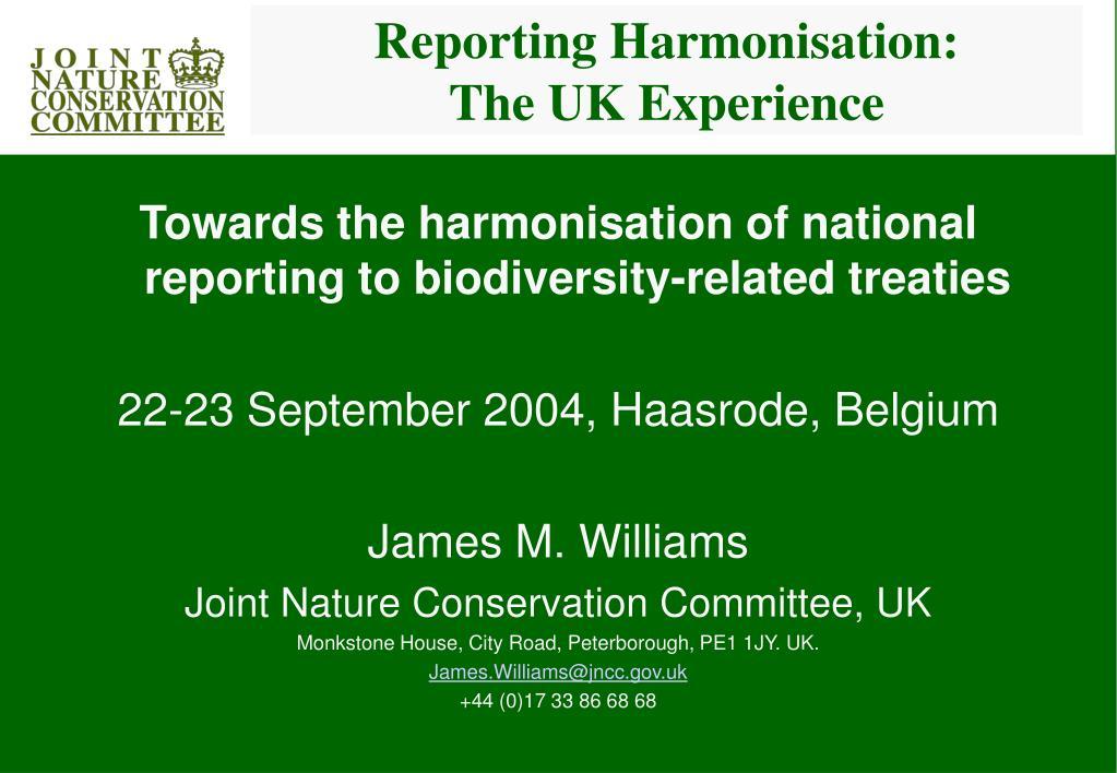 Reporting Harmonisation: