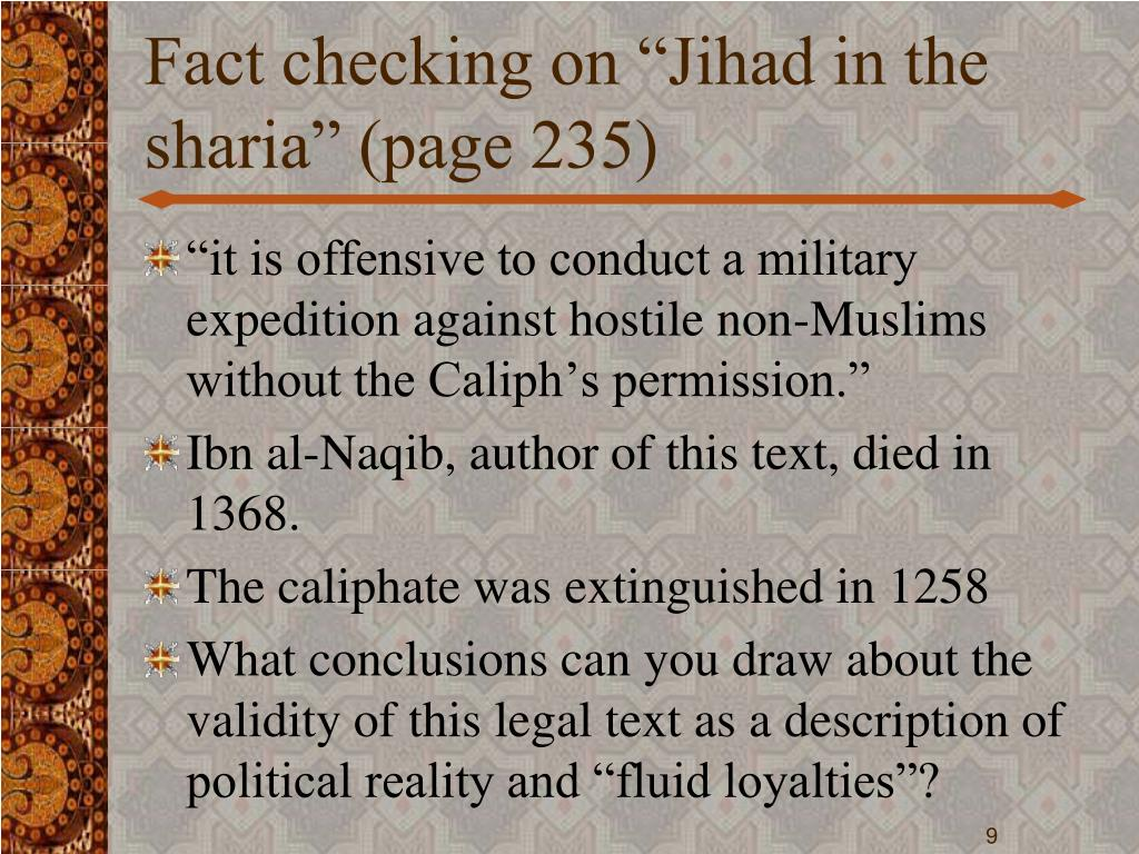 "Fact checking on ""Jihad in the sharia"" (page 235)"