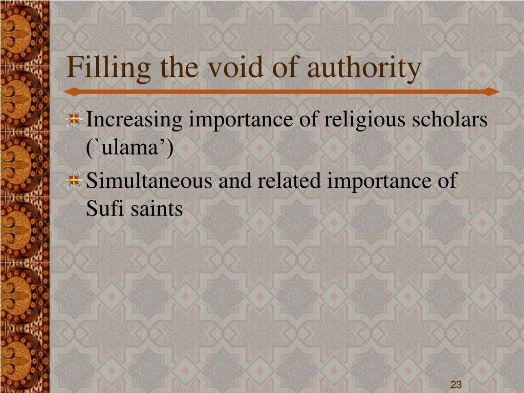 Filling the void of authority