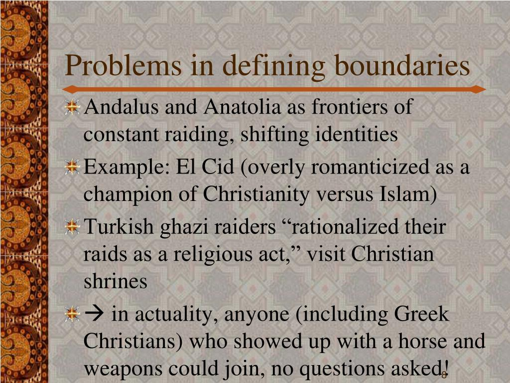 Problems in defining boundaries