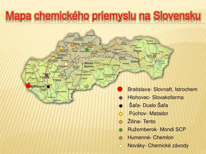 Mapa chemického priemyslu na Slovensku