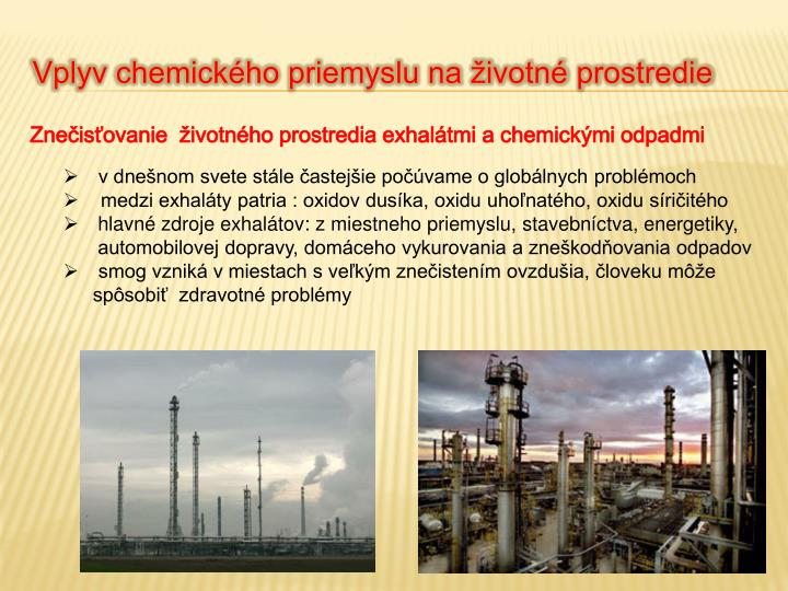 Vplyv chemického priemyslu na životné prostredie