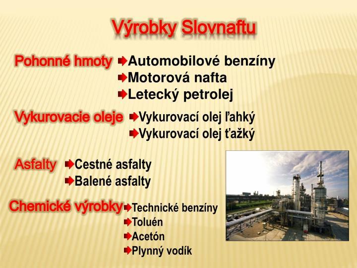 Výrobky Slovnaftu