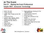 at the event part iv making the event professional sample first announcer terminology1
