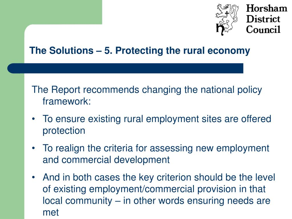 The Solutions – 5. Protecting the rural economy
