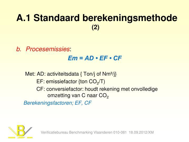 A.1 Standaard berekeningsmethode