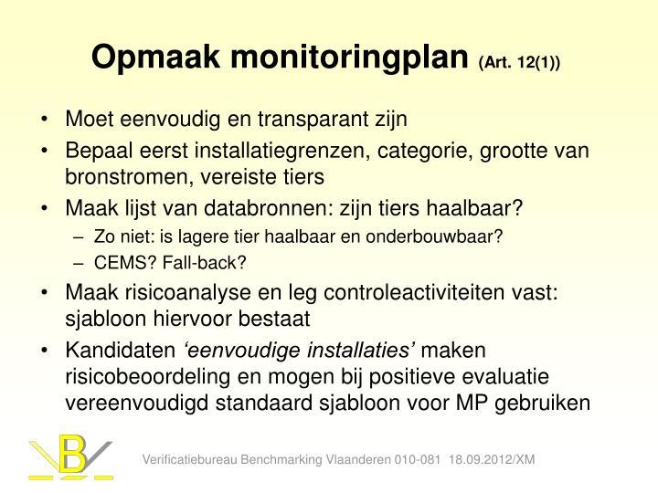 Opmaak monitoringplan