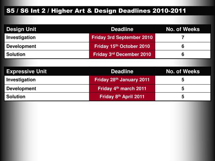 S5 / S6 Int 2 / Higher Art & Design Deadlines 2010-2011