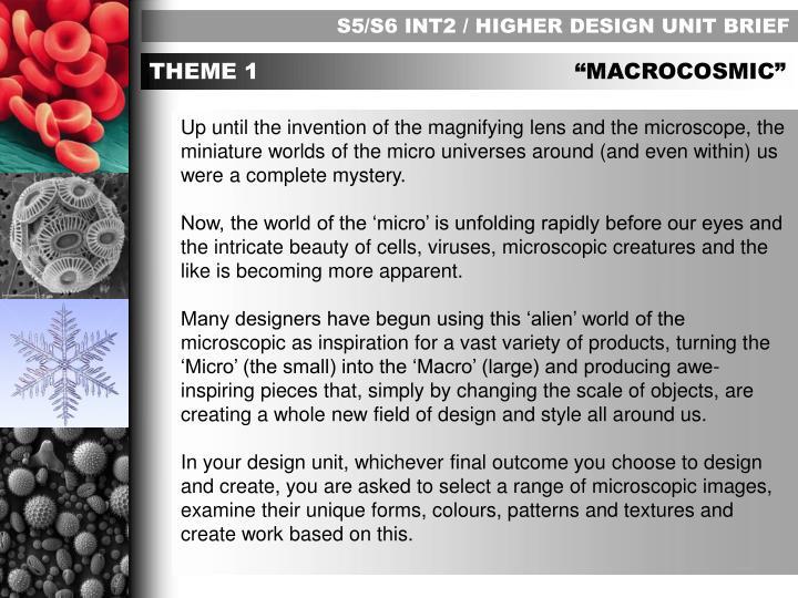 S5/S6 INT2 / HIGHER DESIGN UNIT BRIEF