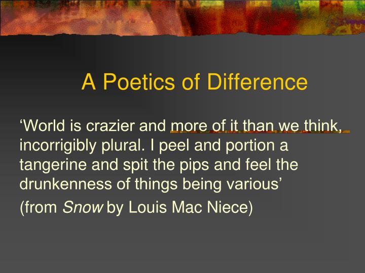 A Poetics of Difference