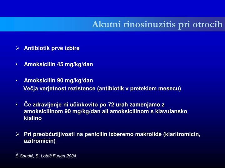Akutni rinosinuzitis pri otrocih