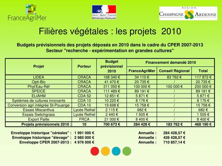 Filières végétales : les projets  2010